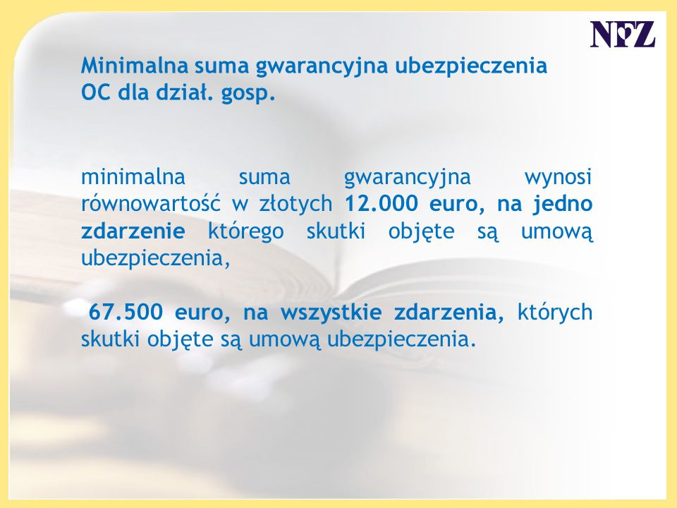 Minimalna suma gwarancyjna ubezpieczenia OC dla dział. gosp.