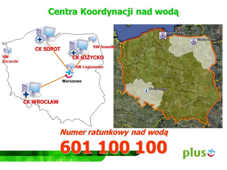 Centra Koordynacji nad wodą Numer ratunkowy nad wodą 601 100 100