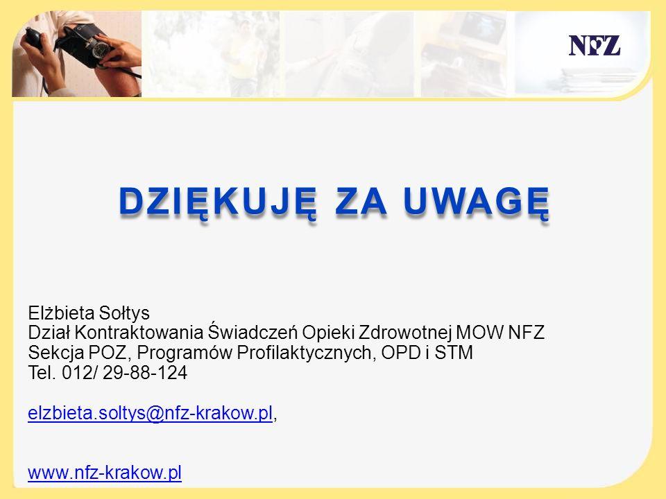 DZIĘKUJĘ ZA UWAGĘ Elżbieta Sołtys