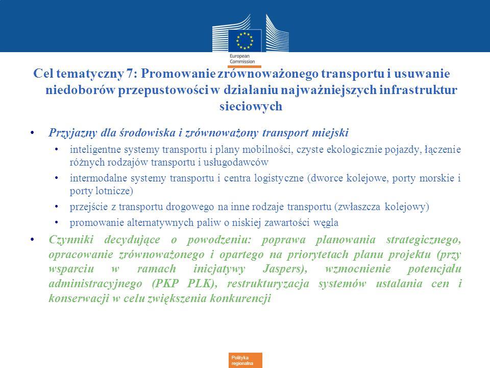 Cel tematyczny 7: Promowanie zrównoważonego transportu i usuwanie niedoborów przepustowości w działaniu najważniejszych infrastruktur sieciowych