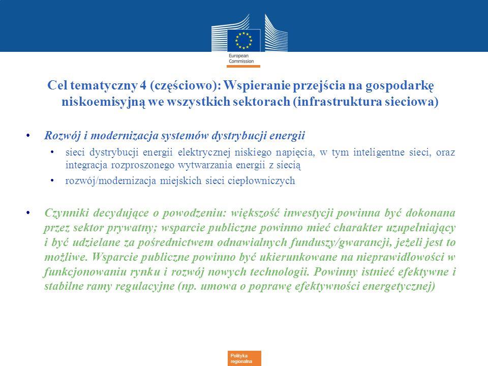 Cel tematyczny 4 (częściowo): Wspieranie przejścia na gospodarkę niskoemisyjną we wszystkich sektorach (infrastruktura sieciowa)