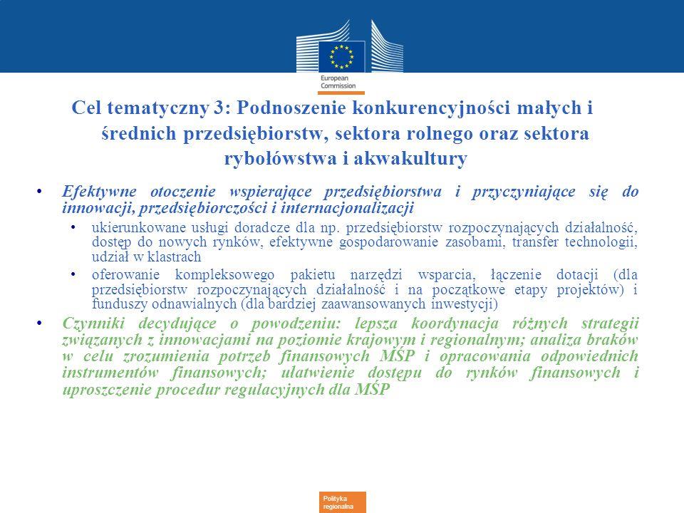 Cel tematyczny 3: Podnoszenie konkurencyjności małych i średnich przedsiębiorstw, sektora rolnego oraz sektora rybołówstwa i akwakultury