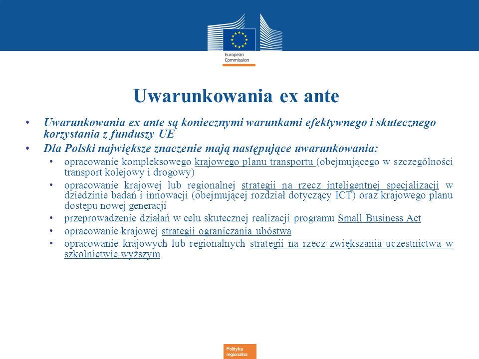 Uwarunkowania ex ante Uwarunkowania ex ante są koniecznymi warunkami efektywnego i skutecznego korzystania z funduszy UE.