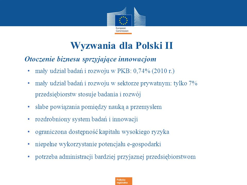 Wyzwania dla Polski II Otoczenie biznesu sprzyjające innowacjom