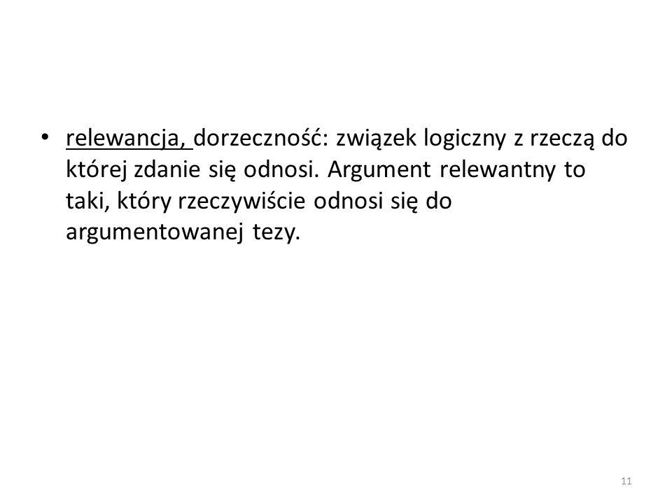 relewancja, dorzeczność: związek logiczny z rzeczą do której zdanie się odnosi.