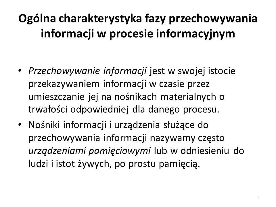 Ogólna charakterystyka fazy przechowywania informacji w procesie informacyjnym