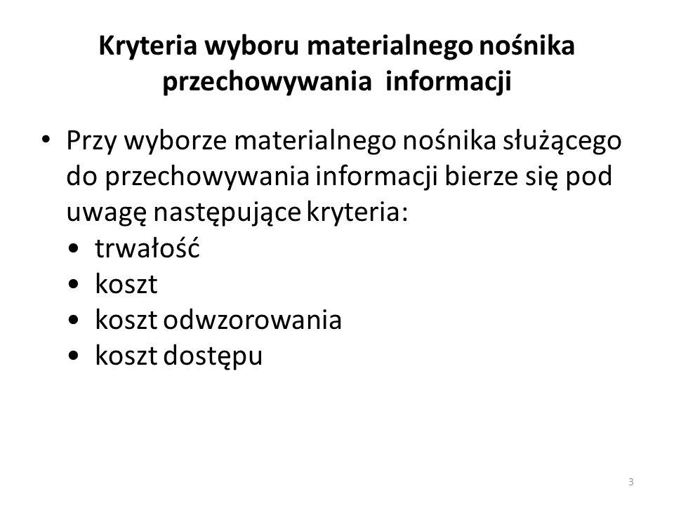 Kryteria wyboru materialnego nośnika przechowywania informacji