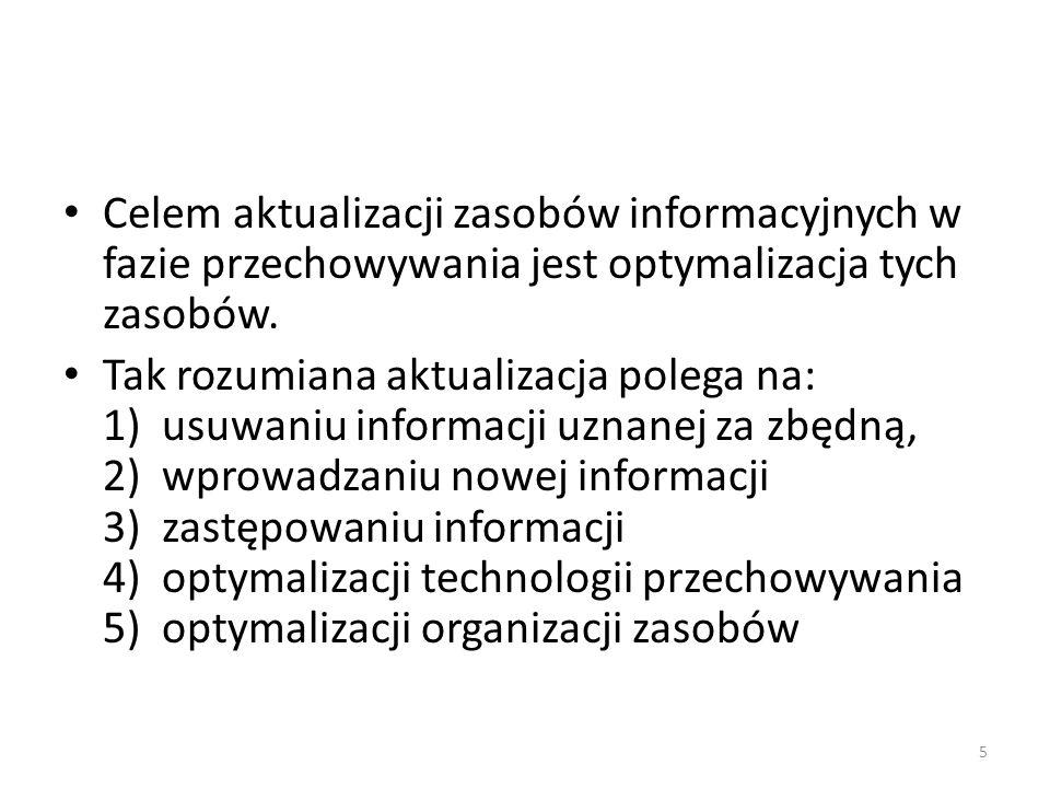 Celem aktualizacji zasobów informacyjnych w fazie przechowywania jest optymalizacja tych zasobów.