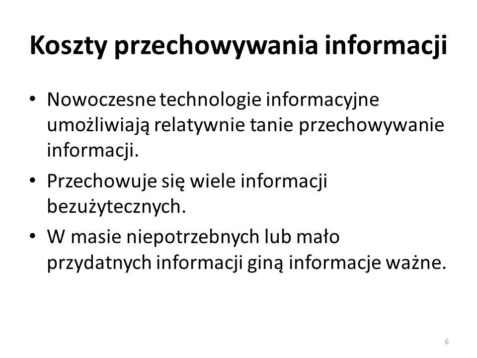 Koszty przechowywania informacji