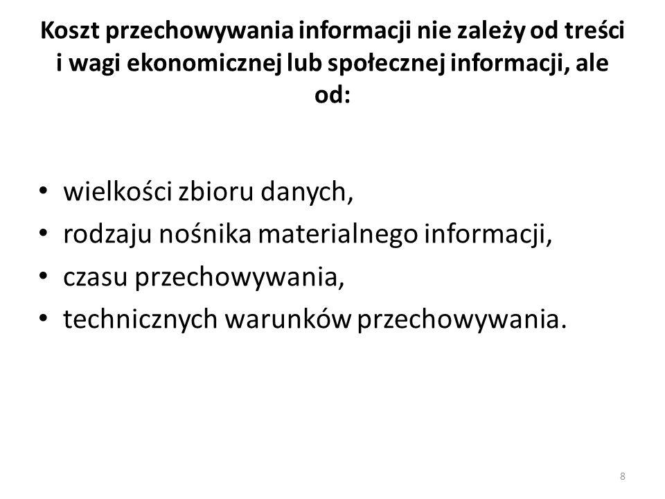 wielkości zbioru danych, rodzaju nośnika materialnego informacji,