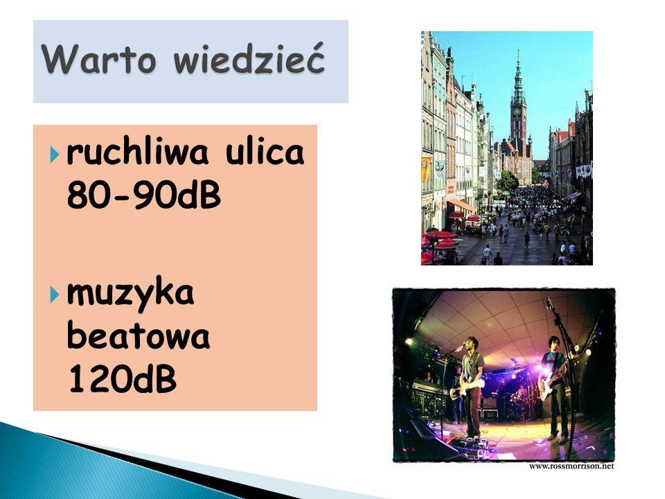 Warto wiedzieć ruchliwa ulica 80-90dB muzyka beatowa 120dB
