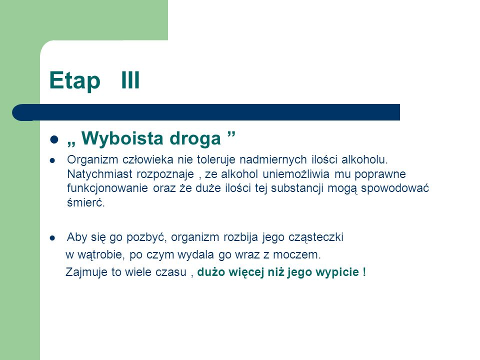 "Etap III "" Wyboista droga"