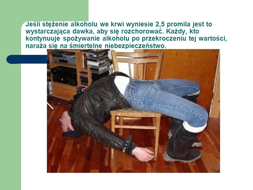 Jeśli stężenie alkoholu we krwi wyniesie 2,5 promila jest to wystarczająca dawka, aby się rozchorować.