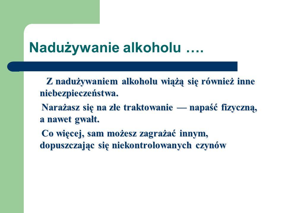 Nadużywanie alkoholu ….