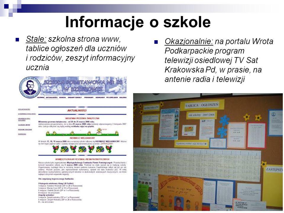 Informacje o szkoleStale: szkolna strona www, tablice ogłoszeń dla uczniów i rodziców, zeszyt informacyjny ucznia.