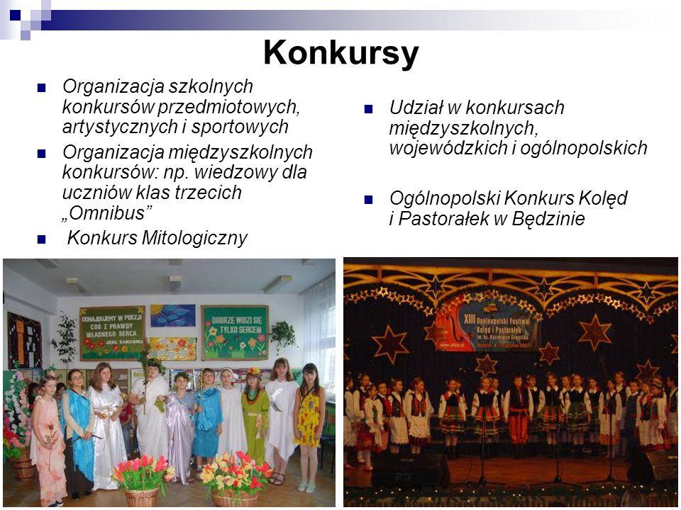 Konkursy Organizacja szkolnych konkursów przedmiotowych, artystycznych i sportowych.