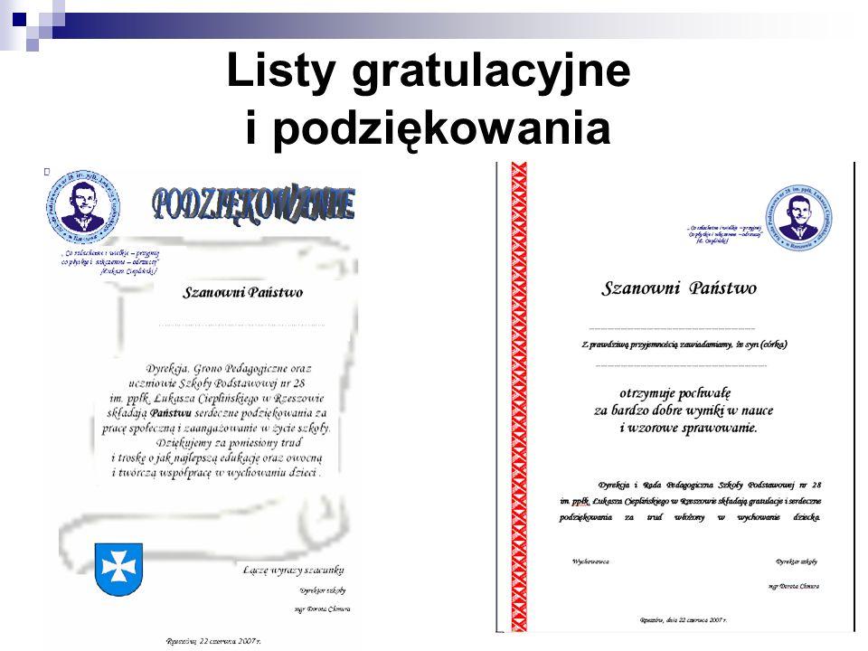 Listy gratulacyjne i podziękowania