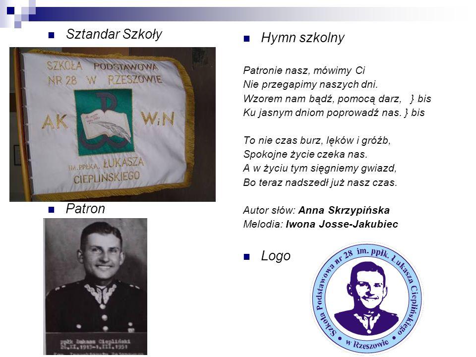 Sztandar Szkoły Hymn szkolny Patron Logo Patronie nasz, mówimy Ci