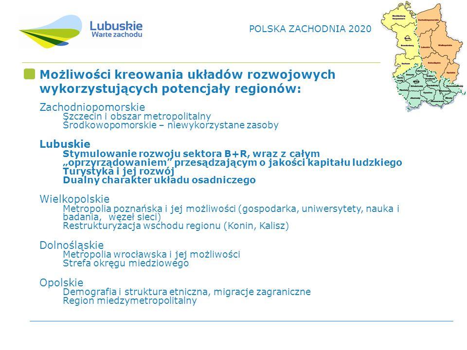 POLSKA ZACHODNIA 2020 Możliwości kreowania układów rozwojowych wykorzystujących potencjały regionów: