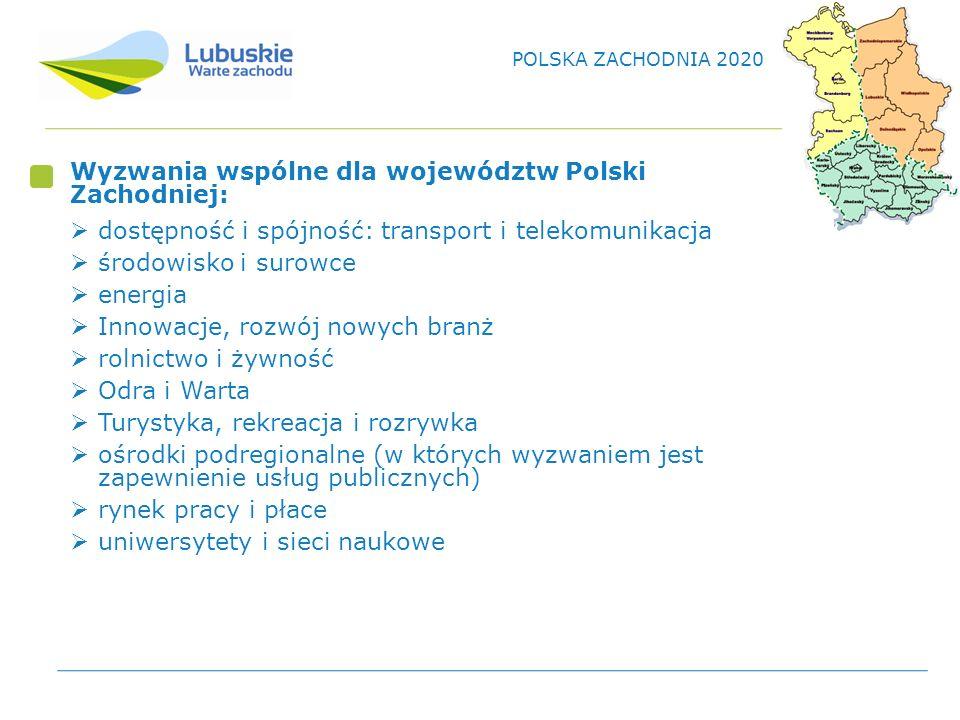 Wyzwania wspólne dla województw Polski Zachodniej: