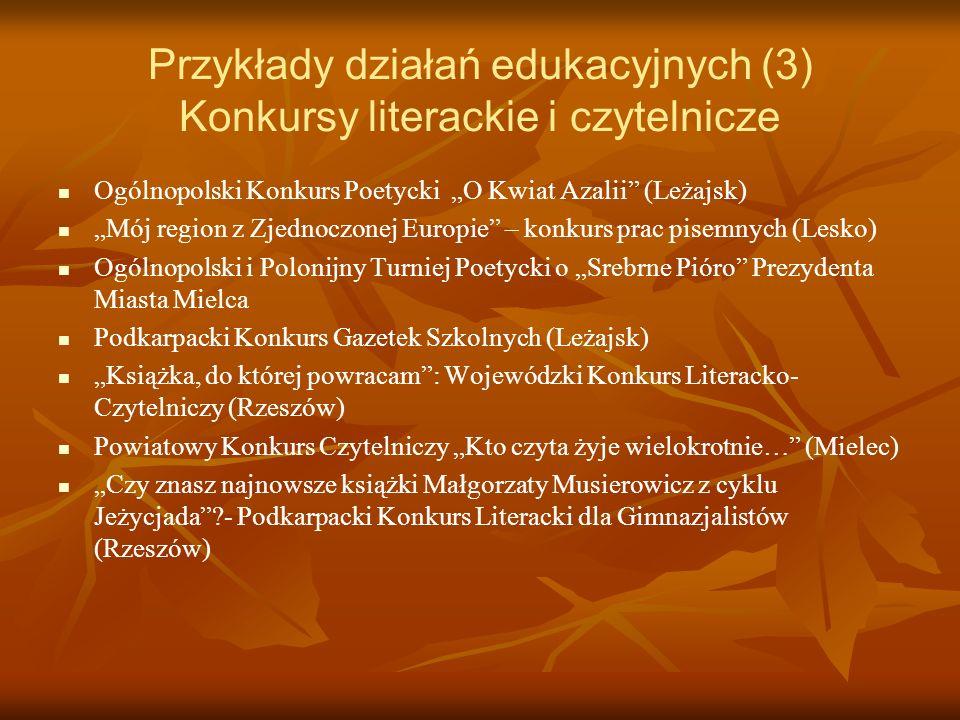 Przykłady działań edukacyjnych (3) Konkursy literackie i czytelnicze
