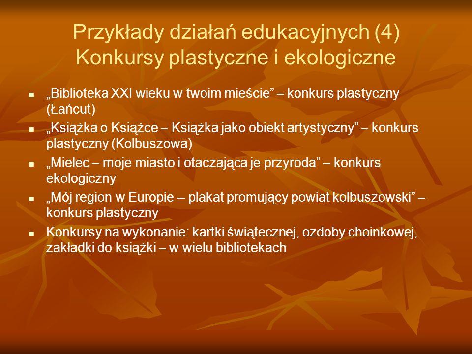 Przykłady działań edukacyjnych (4) Konkursy plastyczne i ekologiczne