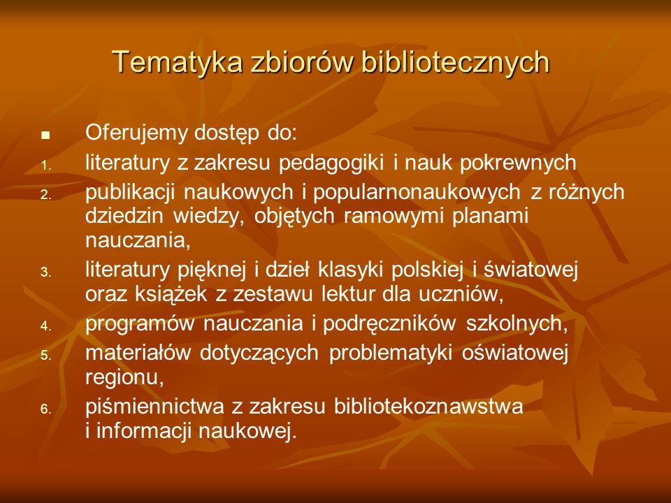 Tematyka zbiorów bibliotecznych