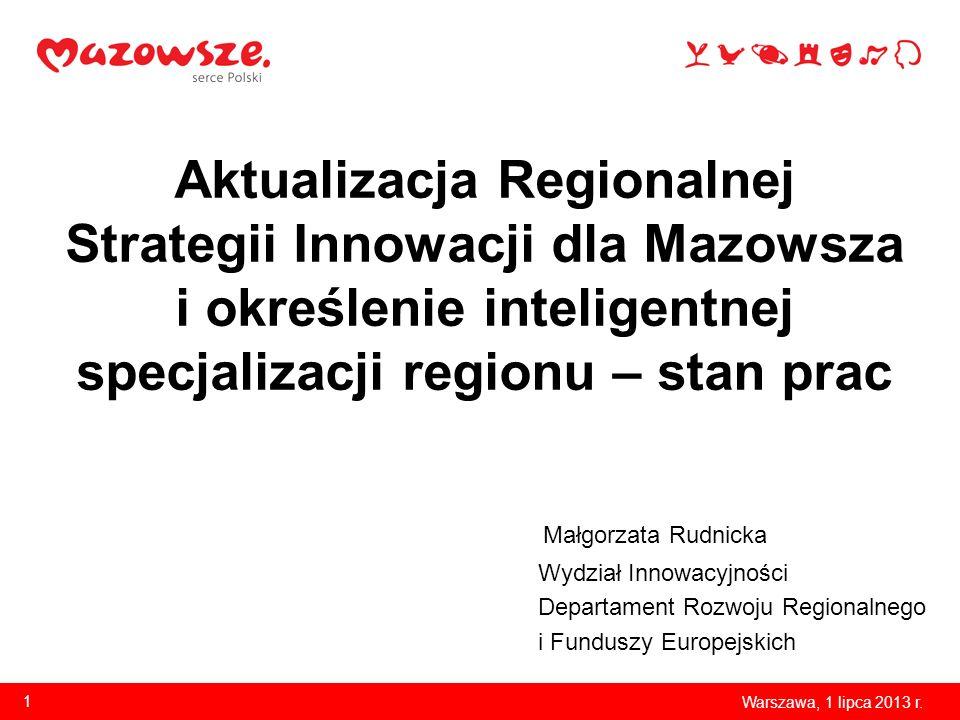 Aktualizacja Regionalnej Strategii Innowacji dla Mazowsza i określenie inteligentnej specjalizacji regionu – stan prac