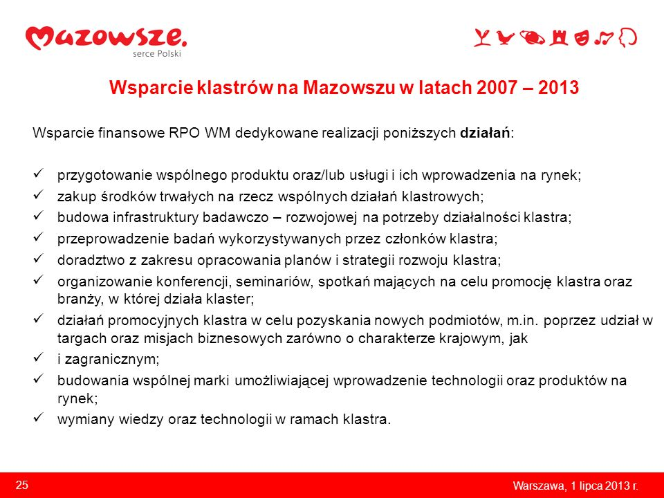 Wsparcie klastrów na Mazowszu w latach 2007 – 2013