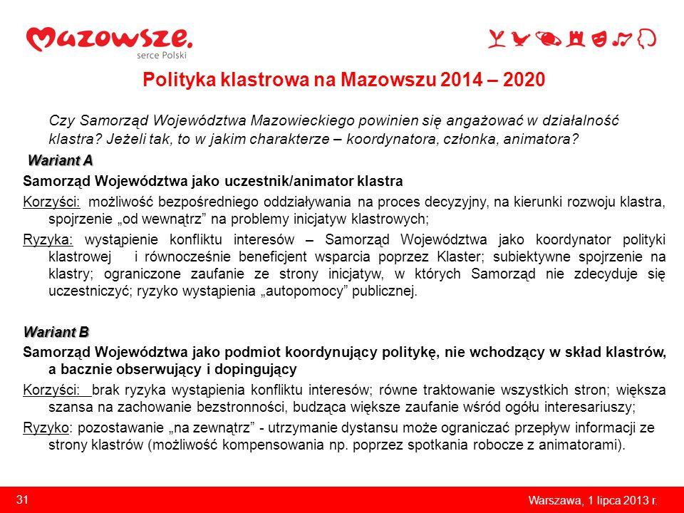 Polityka klastrowa na Mazowszu 2014 – 2020