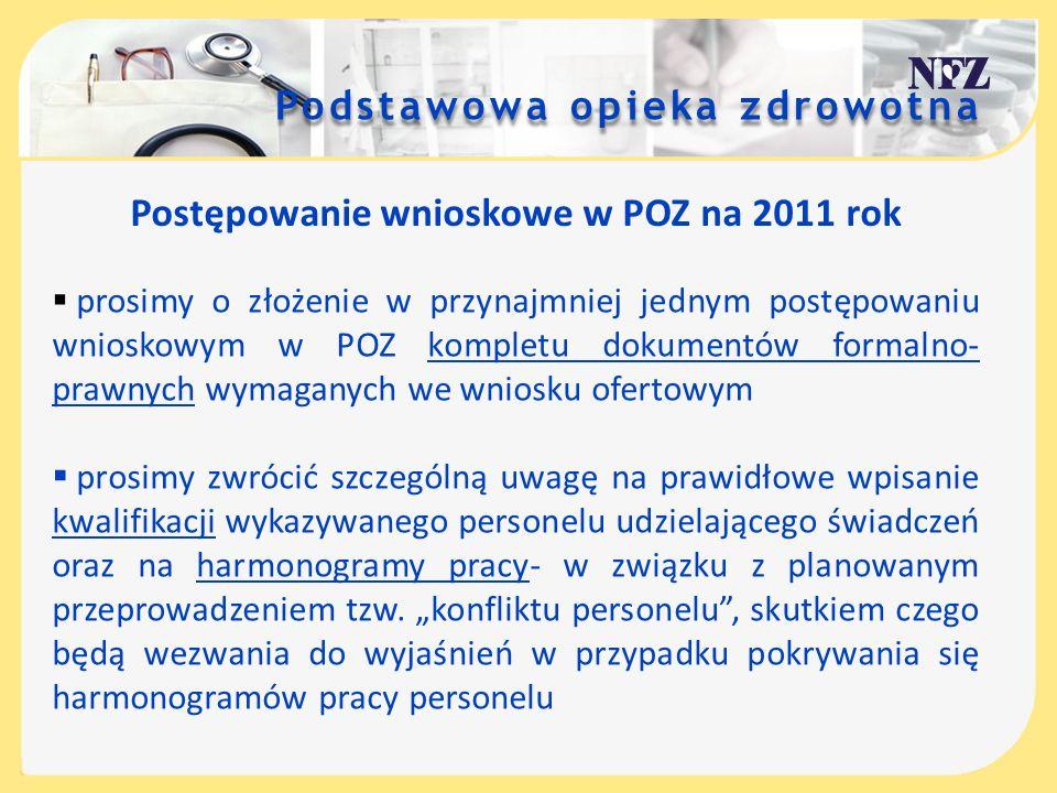 Postępowanie wnioskowe w POZ na 2011 rok