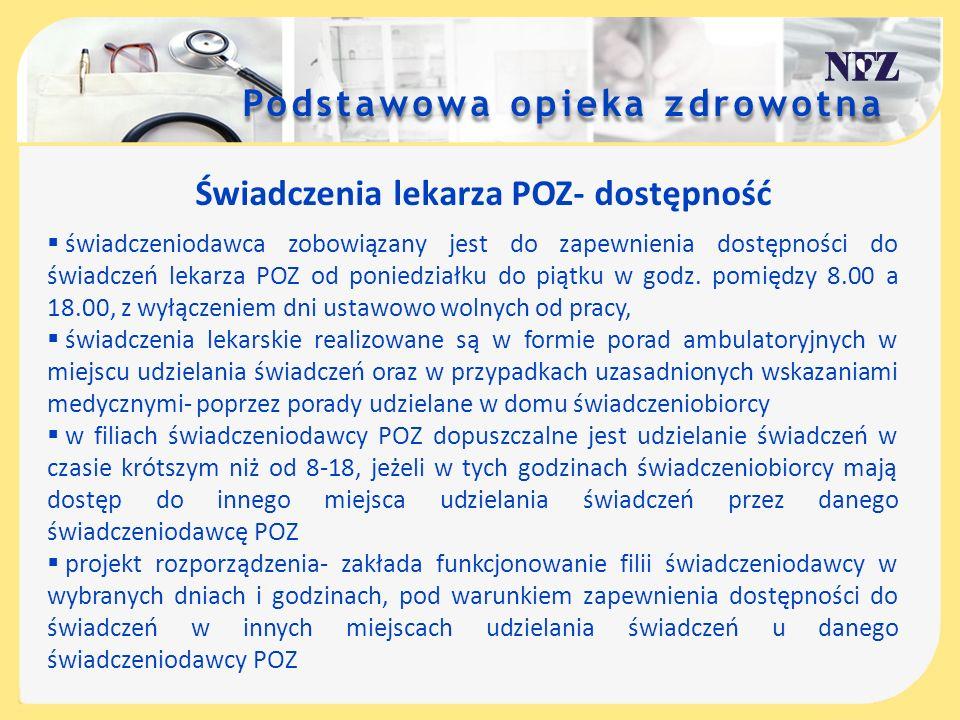 Świadczenia lekarza POZ- dostępność