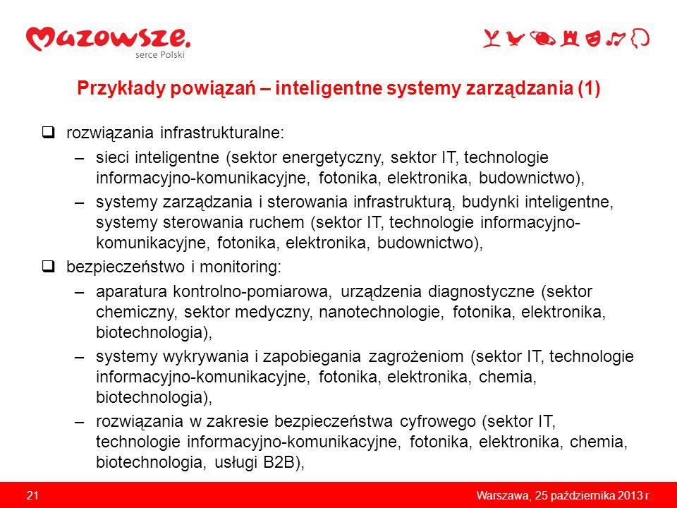 Przykłady powiązań – inteligentne systemy zarządzania (1)