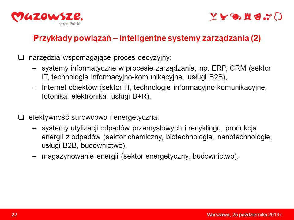 Przykłady powiązań – inteligentne systemy zarządzania (2)