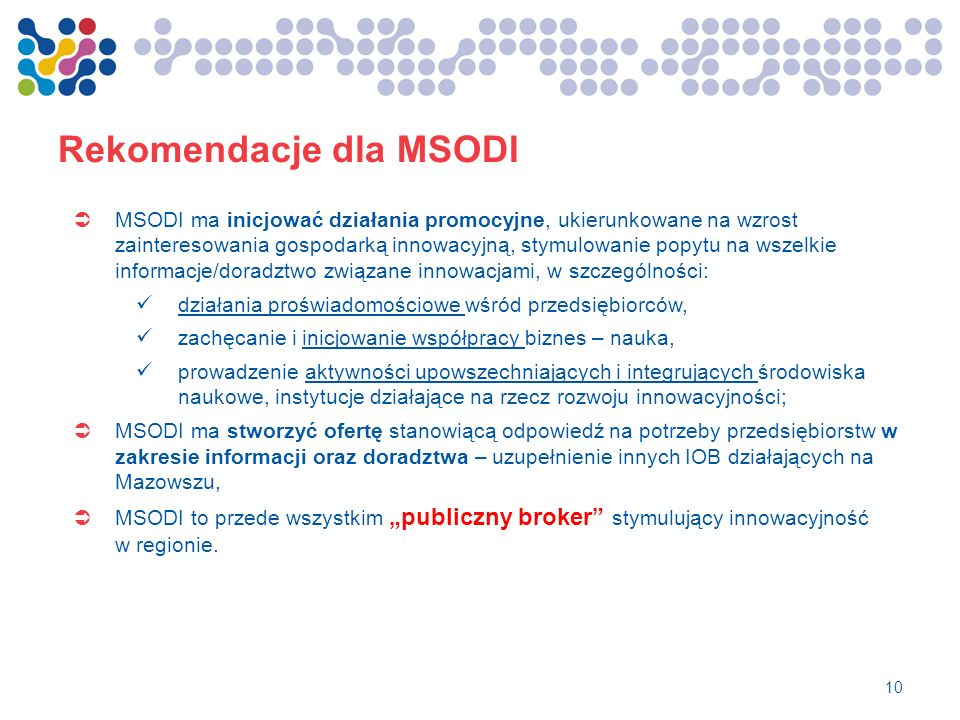 Rekomendacje dla MSODI