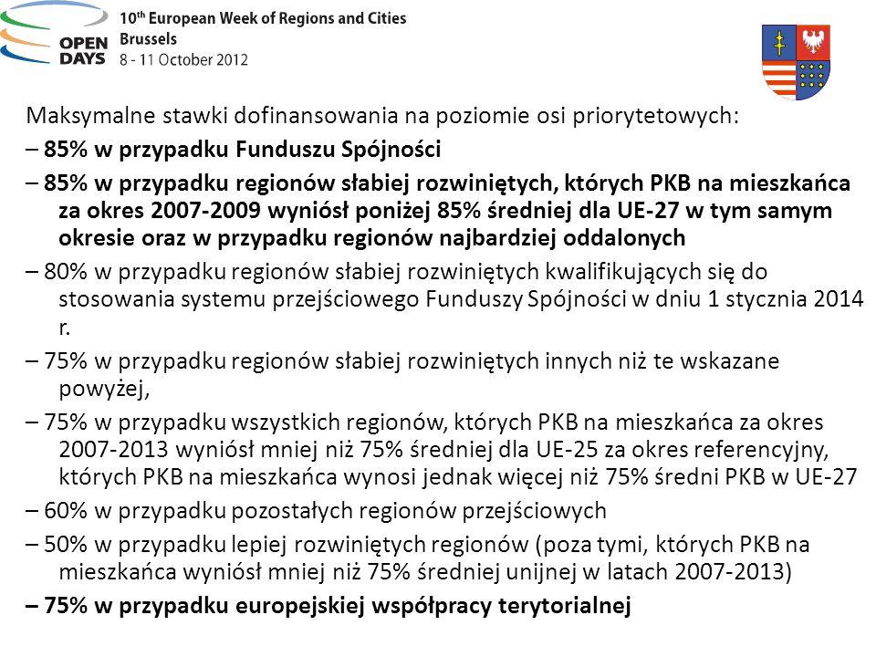 Maksymalne stawki dofinansowania na poziomie osi priorytetowych: – 85% w przypadku Funduszu Spójności – 85% w przypadku regionów słabiej rozwiniętych, których PKB na mieszkańca za okres 2007-2009 wyniósł poniżej 85% średniej dla UE-27 w tym samym okresie oraz w przypadku regionów najbardziej oddalonych – 80% w przypadku regionów słabiej rozwiniętych kwalifikujących się do stosowania systemu przejściowego Funduszy Spójności w dniu 1 stycznia 2014 r.