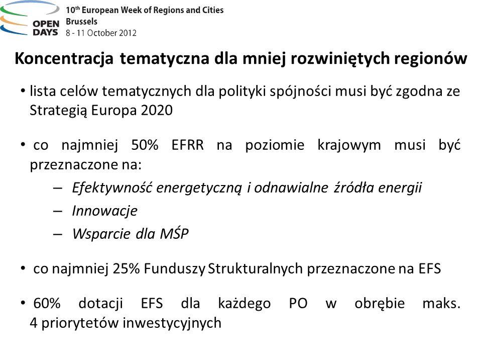 Koncentracja tematyczna dla mniej rozwiniętych regionów