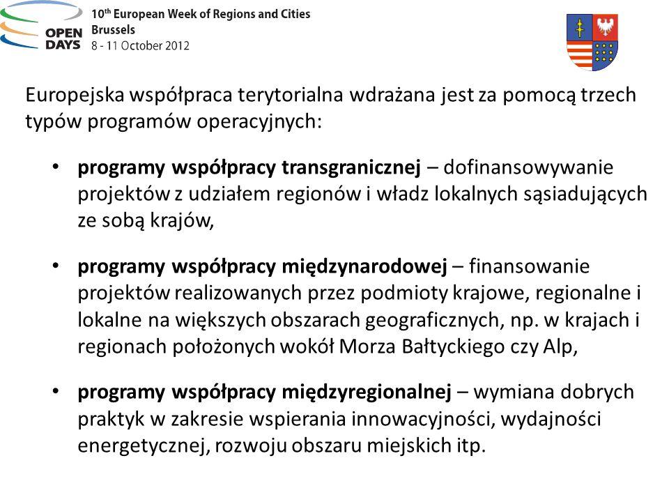 Europejska współpraca terytorialna wdrażana jest za pomocą trzech typów programów operacyjnych: