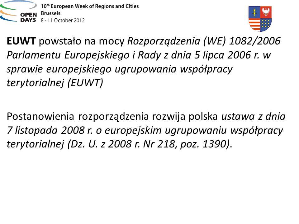 EUWT powstało na mocy Rozporządzenia (WE) 1082/2006 Parlamentu Europejskiego i Rady z dnia 5 lipca 2006 r. w sprawie europejskiego ugrupowania współpracy terytorialnej (EUWT)
