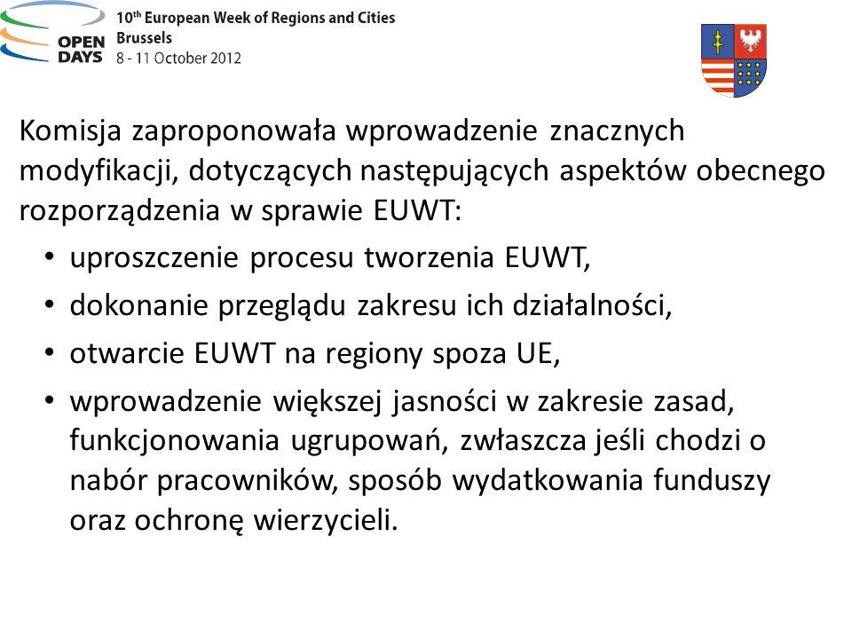 Komisja zaproponowała wprowadzenie znacznych modyfikacji, dotyczących następujących aspektów obecnego rozporządzenia w sprawie EUWT: