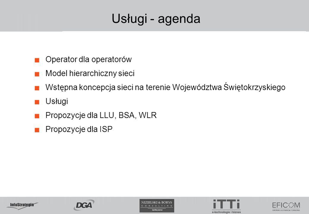 Usługi - agenda Operator dla operatorów Model hierarchiczny sieci