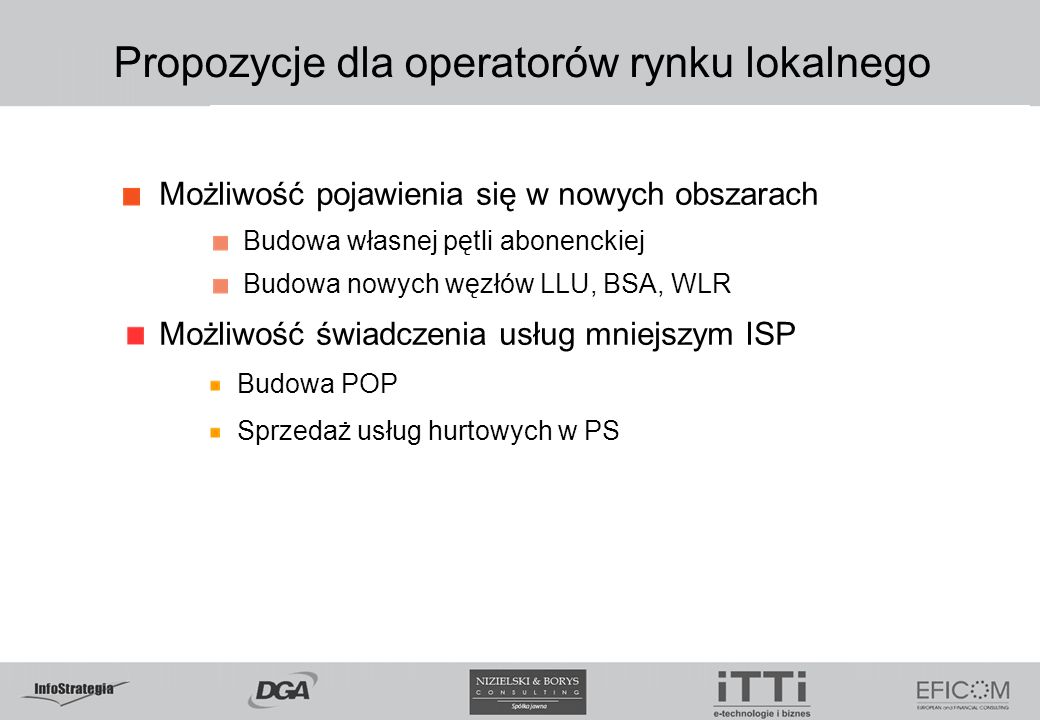 Propozycje dla operatorów rynku lokalnego