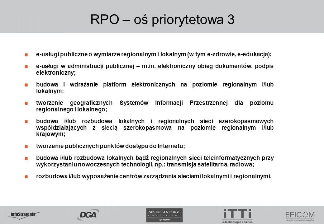 5.02.09 RPO – oś priorytetowa 3. e-usługi publiczne o wymiarze regionalnym i lokalnym (w tym e-zdrowie, e-edukacja);