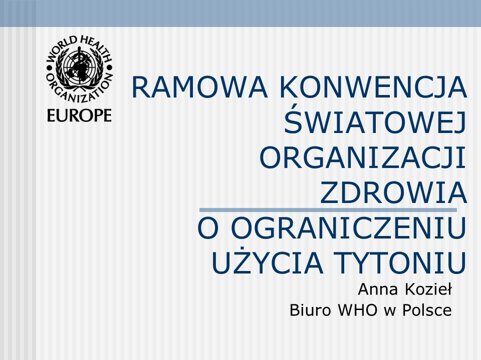 Anna Kozieł Biuro WHO w Polsce