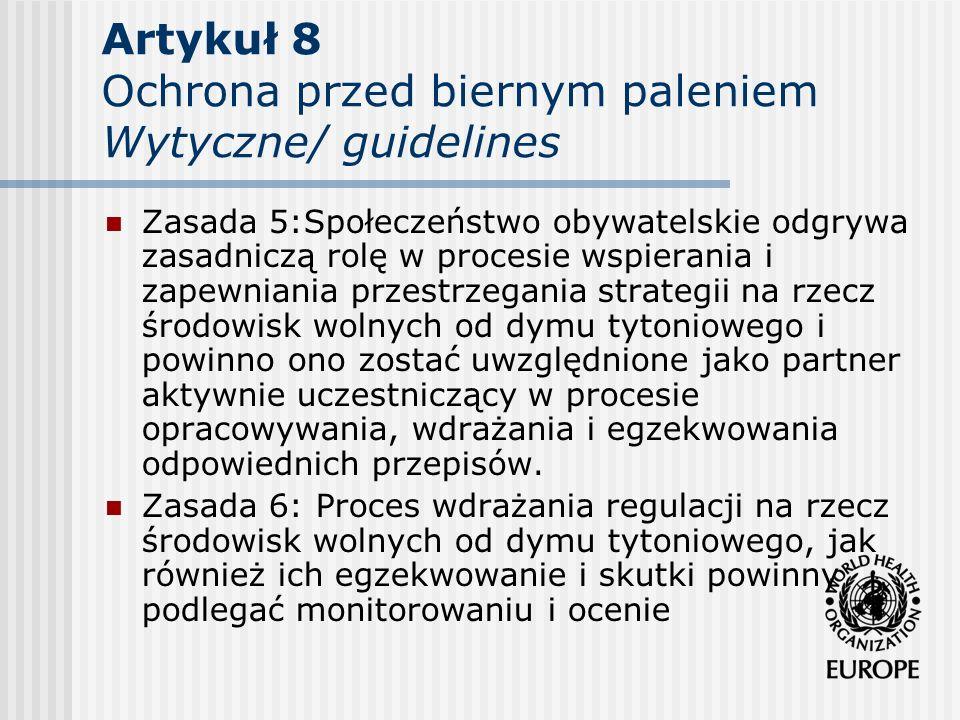 Artykuł 8 Ochrona przed biernym paleniem Wytyczne/ guidelines