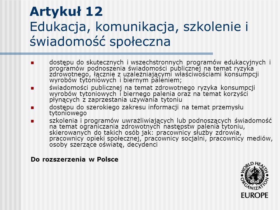 Artykuł 12 Edukacja, komunikacja, szkolenie i świadomość społeczna