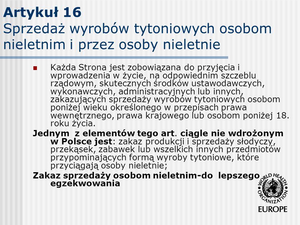 Artykuł 16 Sprzedaż wyrobów tytoniowych osobom nieletnim i przez osoby nieletnie
