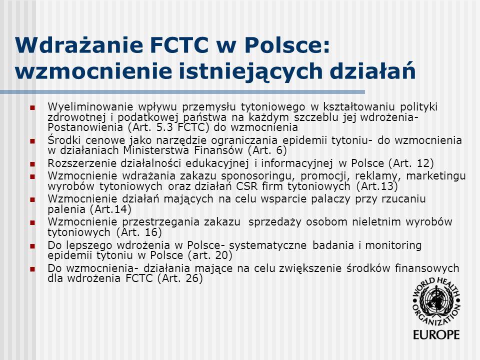 Wdrażanie FCTC w Polsce: wzmocnienie istniejących działań