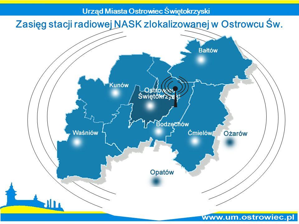Zasięg stacji radiowej NASK zlokalizowanej w Ostrowcu Św.