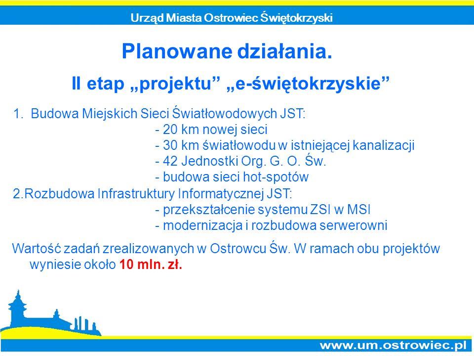 """Planowane działania. II etap """"projektu """"e-świętokrzyskie"""
